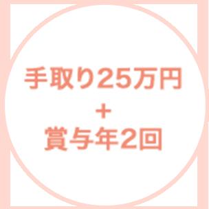 手取り25万円+賞与年2回